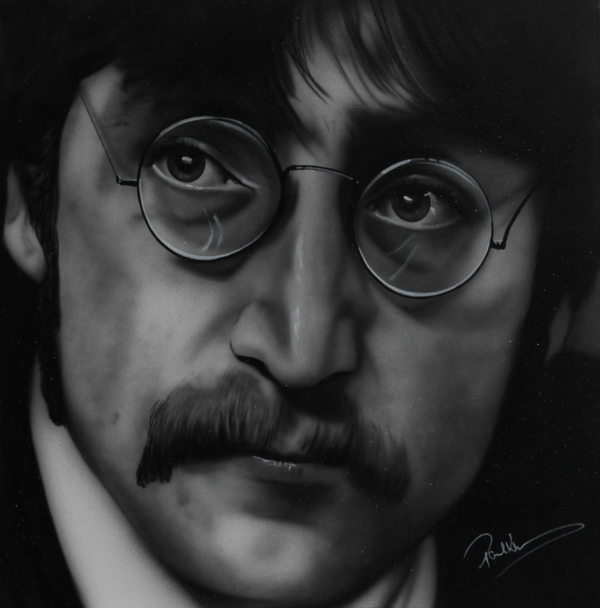 John Lennon III by paul karslake - Orig Monochrome Airbrush W/Diamond Dust on Canvas sized 26x26 inches. Available from Whitewall Galleries